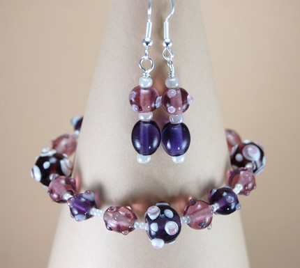 Grape Soda Bracelet and Earrings Set