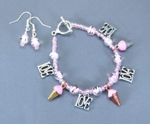 I Love Ice Cream Bracelet and Earring Set