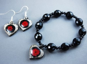 Midnight Floral Bracelet and Earrings Set