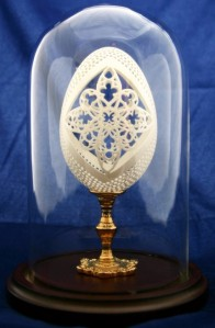 Summer Solstice Filigree Carved Goose Egg