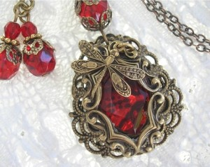 Strawberry Patch Pendant and Earrings from Angels in the Parlour
