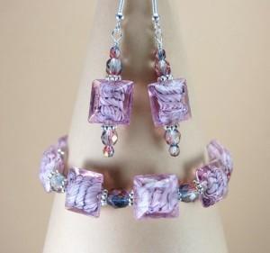 Sweet Lavender Bracelet and Earrings Set