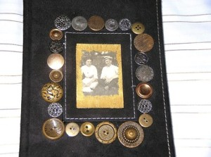 Silver and Gold Vintge button and Postcard Journal