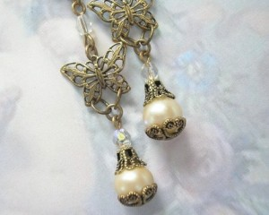 Vintage Glass Pearl and Butterfly Earrings