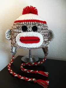 Custom Crochet Sock Monkey Hat with Braids and Pom Pom