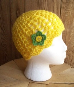 Yellow Sunshine Flowered Beanie