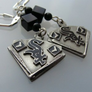 Chicago White Sox Black Onyx Take Me Out to the Ballgame Earrings
