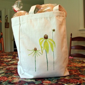 GO GREEN Hand Painted Canvas Tote Bag