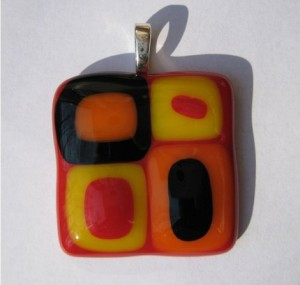 Hip or Square Glass Pendant in Red, Yellow and Orange