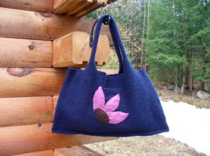 Purple Coneflower Sweater Tote