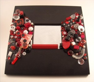 Red and Black Mosaic Mirror