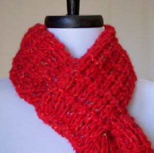 Hand Knit Ruby Red Reversible Scarf