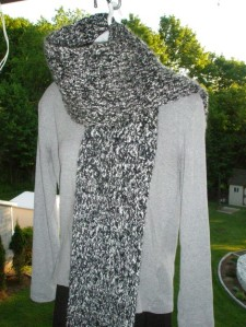 Black and White Crocheted Unisex Scarf