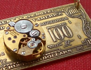 Cosmic Steampunk 100 Dollar Bill Necklace by Cosmic Firefly