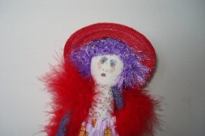 Emma the Red Hat Shopaholic Doll by Wildwomandoll