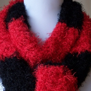 Hand Knit Red and Black Striped Scarf
