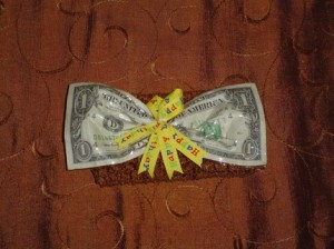 Handmade $1 Bill Money Bow on Brown Headband by rockinggrammy