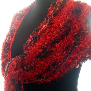 Red and Black Licorice Twist Goddess Shawl Wrap
