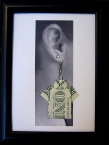 Origami Money Shirt Earrings by cybelesque