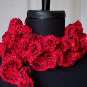 Hand Knit Red Ruffles Scarf