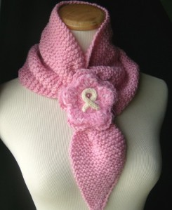 Ascot Scarf Cowl Neckwarmer with Breast Cancer Awareness Brooch by yarncoture