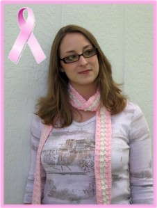 Breast Cancer Pink and Cream Skinny Scarf by JaybirdDesigns