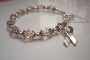 Cancer Awareness Bracelet Swarovski Crystals Sterling Silver