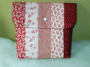Cloth Pouch Red and Beige Multi Print