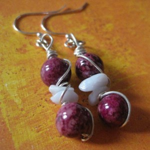 Cranberry Blue Drop Silver Earrings
