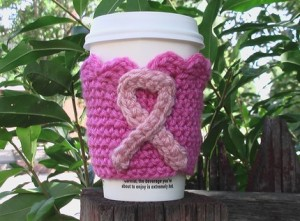 Crocheted Breast Cancer Awareness Coffee Cozie by kimwhitecreations