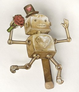 Lover Dancing Paper Puppet Robot Doll by crankbunny