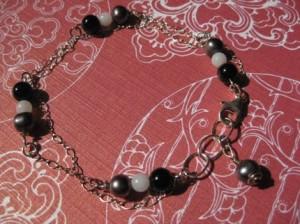 Double Chain Pearl Silver Bracelet