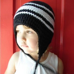 Eco Friendly Crochet Earflap Hat, Black and White