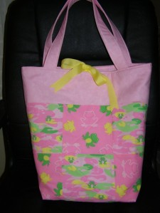Pink Green Yellow Frog Quilted Tote Diaper Bag