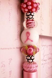 Pink Ribbon Bead Pen by BlackBrookShop