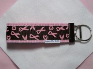 Pink Ribbon Key Fob by ragamuffinquilts