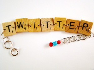 Scrabble Tile Twitter Bracelet by AlmondWorks