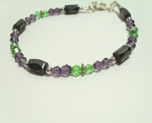 Hematite Bracelet Green and Purple