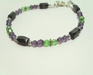 Hematite Bracelet Green and Purple