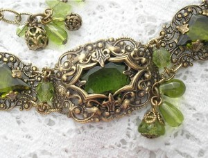 Forest Lights - Vintage Inspired Antiqued Brass and Olivine Glass Bracelet Forest Lights