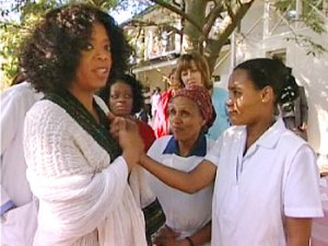 Oprah and Patient at Fistual Hospital in Addis Ababa, Ethiopia