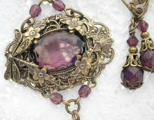 Purple Passionberry Victorian Style Amethyst Antiqued Brass Necklace Set