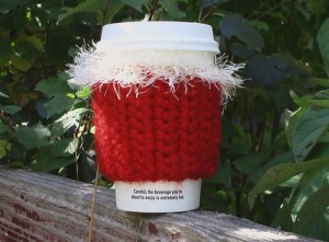 Holiday Crocheted Coffee Cozie in Candy Apple Red