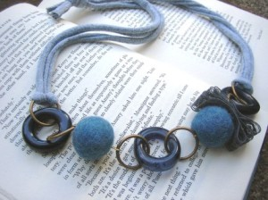 Unique T Shirt Yarn Bead and Lace Necklace Blue and Gray