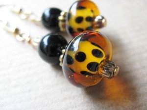 Onyx and Leopard Glass Bead Earrings