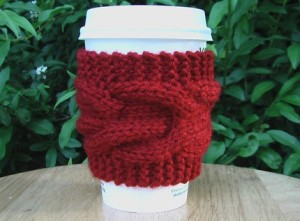 Coffee Cozie Red Cabled