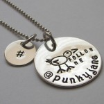 FOLLOW ME with Twitter Handle and Hashtag Necklace
