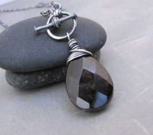 Garnet Front Toggle Sterling Necklace