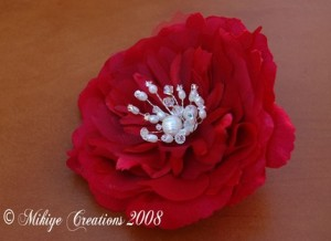 Hair Flower Red Silk
