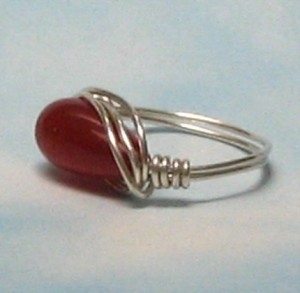 Ring Red Jade Sterling